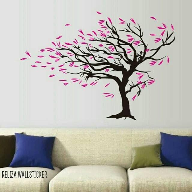 jual wall sticker pohon gugur bunga pink tree flower dc9006 stiker