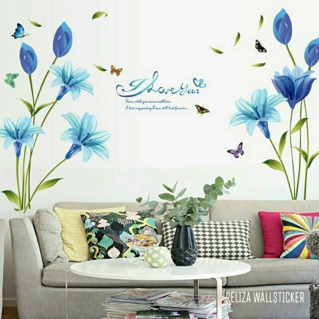 jual wall sticker bunga lily biru blue flowers sk9122a stiker