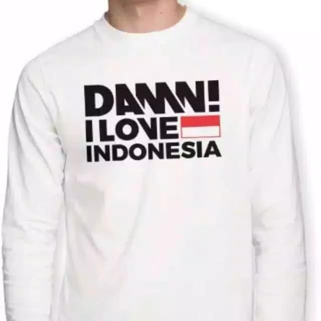 KAOS DAMN I LOVE INDONESIA LENGAN PANJANG PUTIH