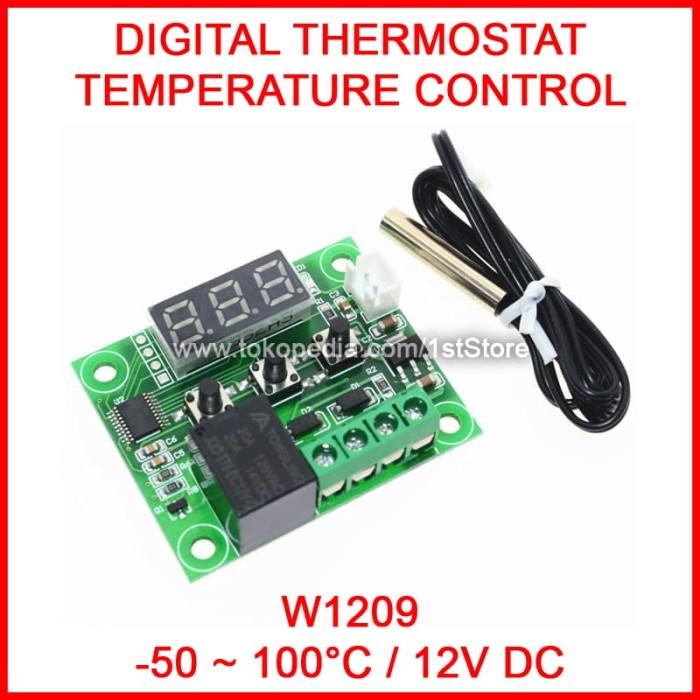 50-110°C W1209 Digital Thermostat Temperature Control Switch Sensor Blue DC 12V