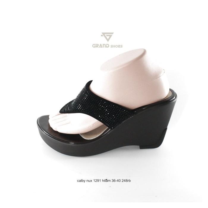 Jual sandal wedges calbi wanita nux 1291 hitam - batikchiara  12f3a3f419