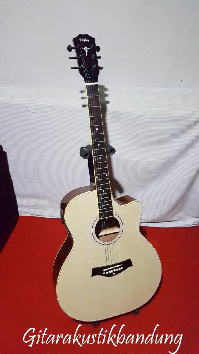 Gitar Akustik Taylor Murah Elektrik Warna Natural Ready Gosend Bdg