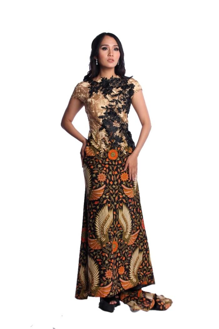 Jual Rr1867 Longdress Batik Pesta Modern Kombinasi Brokat Sayap