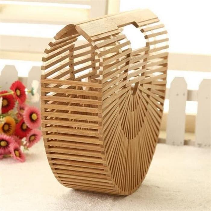 Tas Bambu Wanita Crossbody Tote Handbag Perempuan termurah - Emas