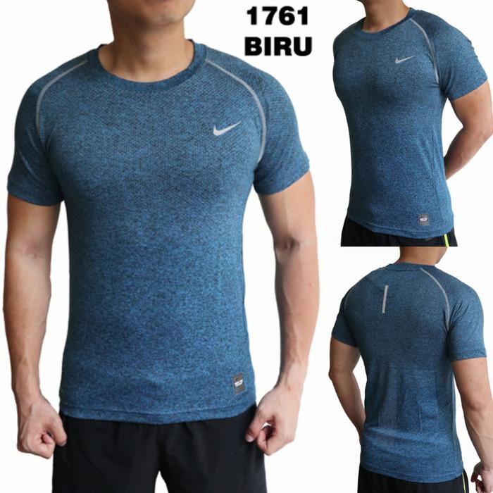 T-shirt Kaos Baju Olahraga Gym Fitness Lari Jogging Nike 1761 Biru