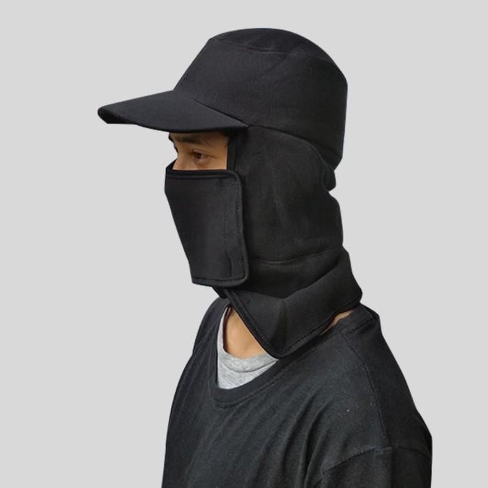 Topi Jepang Pria Hitam Polos Samping Mancing Gunung Masker Proyek - Hitam 96cf431a57