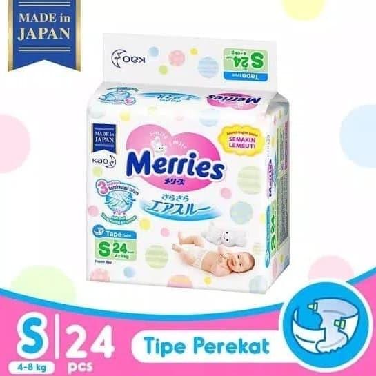 Merries popok bayi tipe perekat s 24 s24 s-24 tape baby diaper meries