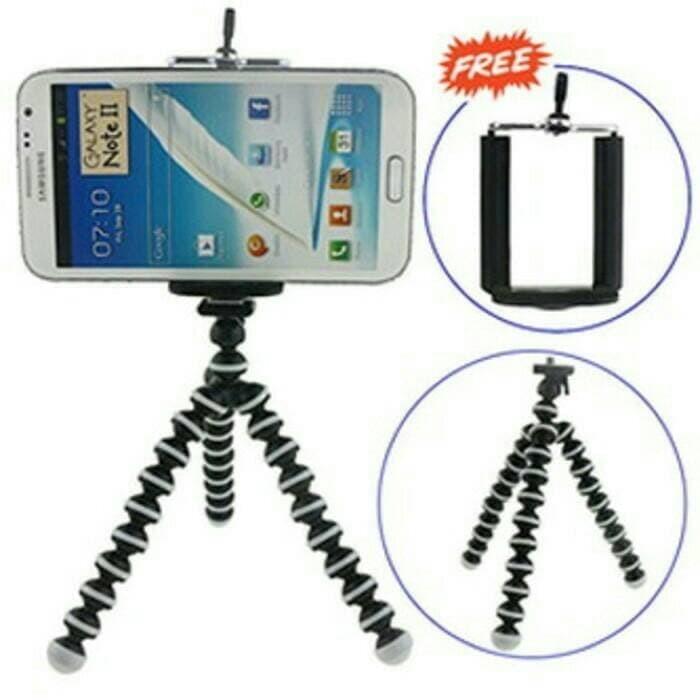 Tripod Gurita Mini 3 Kaki Lentur Untuk Hp dan Kamera (Free Holder)
