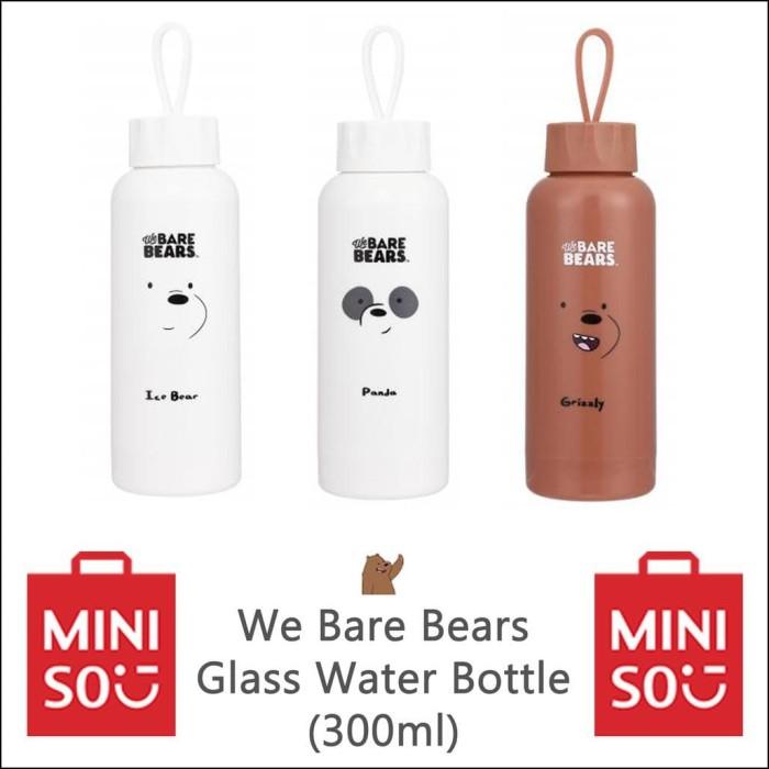 6ee83f96d0 TERBARU - MINISO WE BARE BEARS GLASS WATER BOTTLE 300ML - CLUTCH MURAH