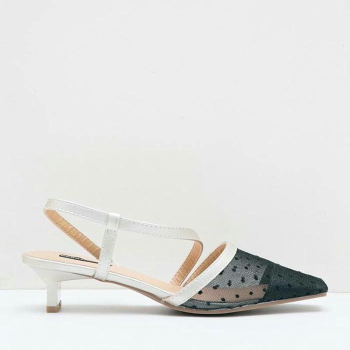 Moree Julian Mesh Details Heels Sepatu Wanita Heels Sepatu Sandal - Beige, 36