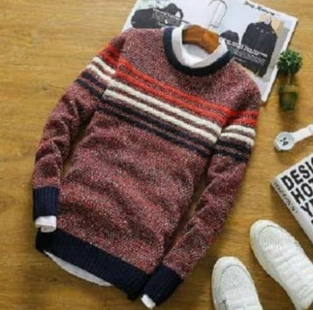 Sweaer Pria Rajut Jhon Maroon Tribal Sweater - Jhon Maroon, All Size Fit L
