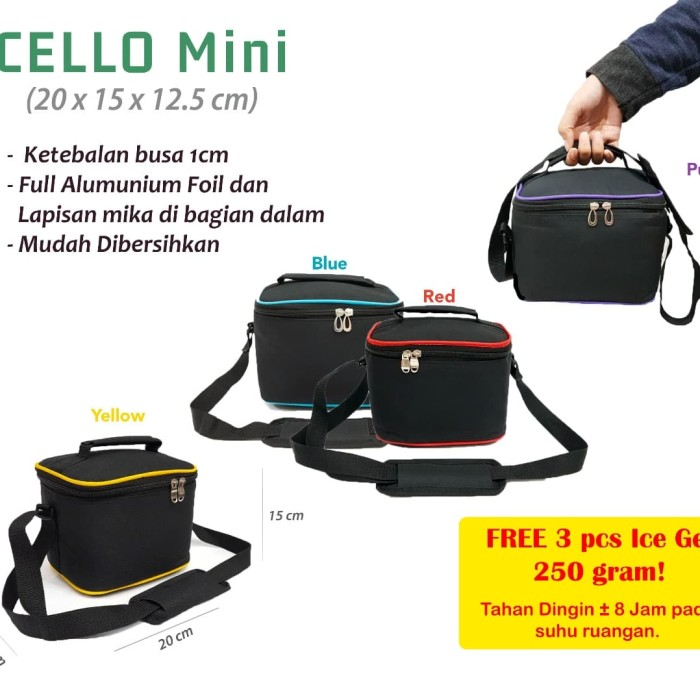 Cooler bag mini free 3 ice gel murah tas asi