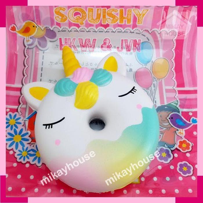 Mainan Squishy Jumbo Candicorn Galaxy Rainbow Squishy Donut Unicorn