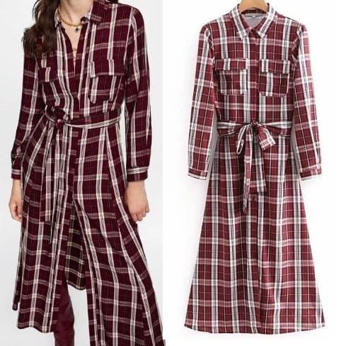 ... harga Import dress kemeja shirt maxi kotak merah red belt Tokopedia.com