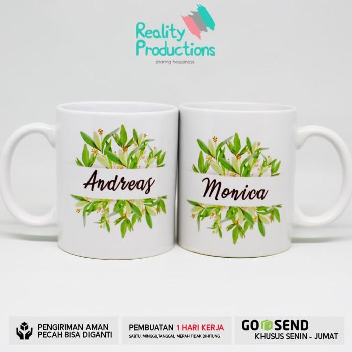harga Mug couple green leaves watercolor untuk kado pernikahan Tokopedia.com