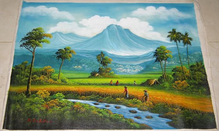 harga Lukisan feng shui panen padi / pemandangan pembawa kemakmuran 80x60 cm Tokopedia.com