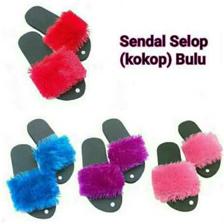 SANDAL SPON KOKOP KENZI/sandal slop kokop bulu/sandal bulu