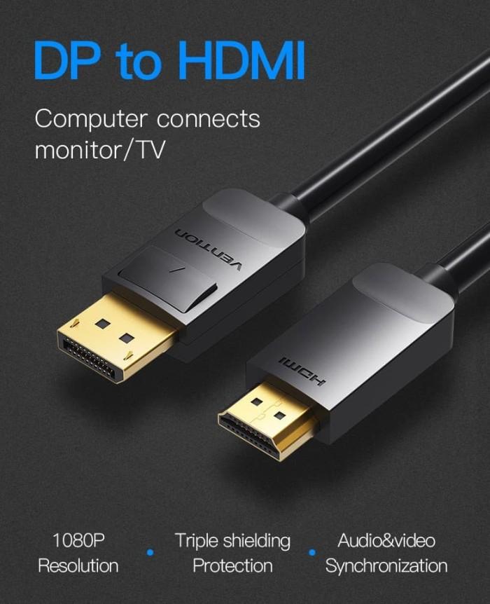 Foto Produk Vention HAD 1.5M Kabel DisplayPort (DP) Male to HDMI Male dari SinShe-Tekno