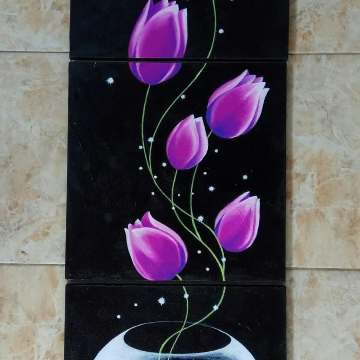 Jual Lukisan Panel Vertikal Pot Bunga Tulip Ungu Kab Gianyar Minimalis Art Tokopedia