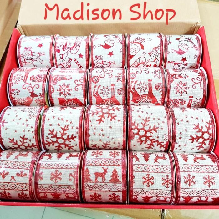Dekorasi pita natal hiasan pohon christmas bow ribbon snowman