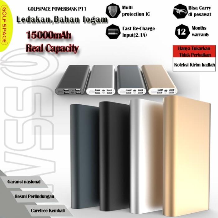 harga Powerbank 15000mah 4 usb port real capacity kerang paduan aluminiump13 - perak Tokopedia.com