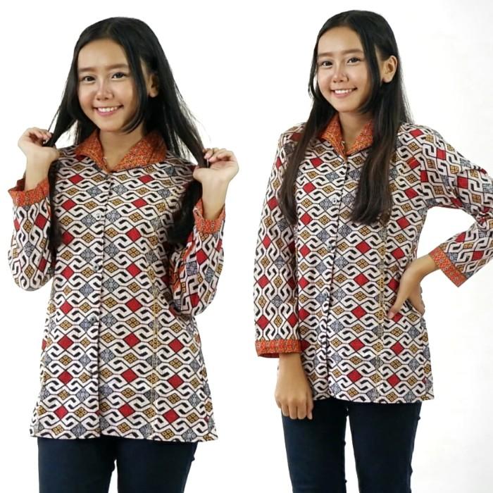 ... harga Blouse atasan blus batik murah wanita elegan pakaian trendy  modern Tokopedia.com 69838e2813