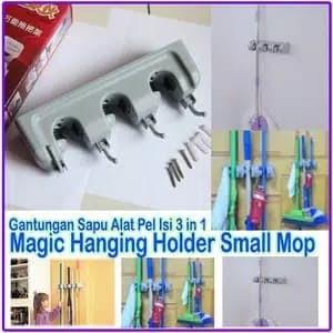 Magic mop holder/gantungan sapu alat pel 3 slot dengan gantungan