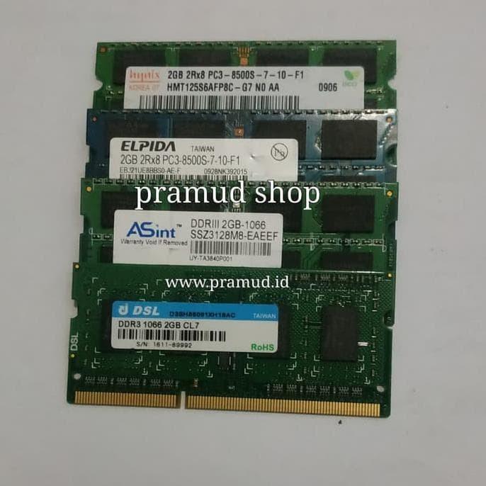 Termurah Sodimm 2Gb Pc3-8500S Pc-8500 Pc8500 Ddr3-1066 Mhz Ram Laptop