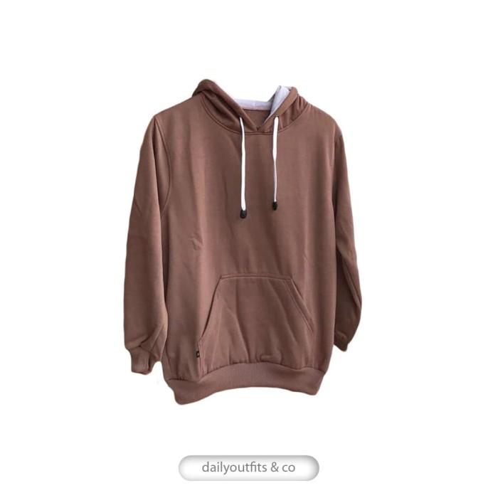 Jaket Sweater Polos Hoodie Jumper Fleece Mocca Premium Quality - Cokelat  Muda bd190556db