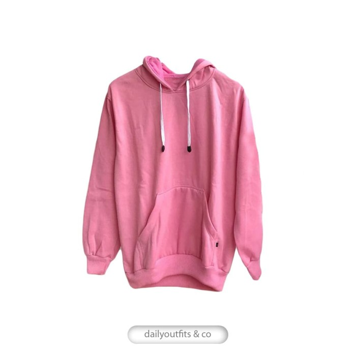 Jaket Sweater Polos Hoodie Jumper Fleece Pink Unisex Premium Quality -  Merah Muda 266d1caad9