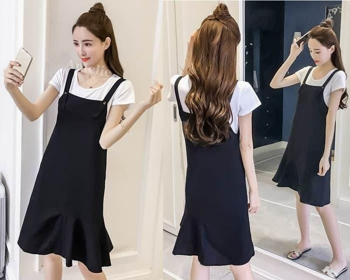 3871a4305b Jual CANTIK Setelan Baju Overall Mini Dress Jumpsuit Wanita Korea ...