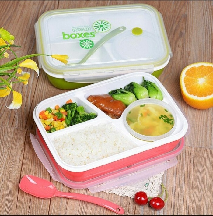 Lunch Box Kotak Makan Sup Yooyee 4 Sekat bento - Merah