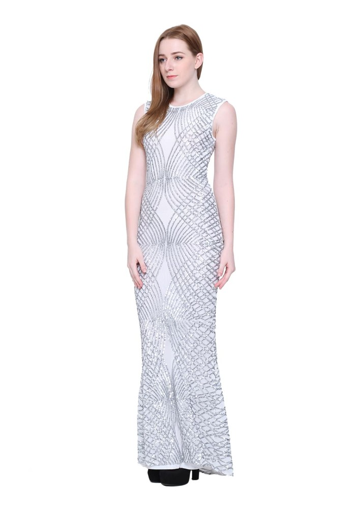 CRYSTAL SEQUINED LONG DRESS - Putih