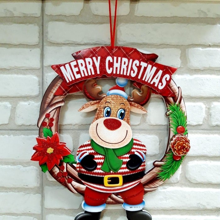 Krans natal santa snowman raindeer dekorasi natal kado hiasan pohon