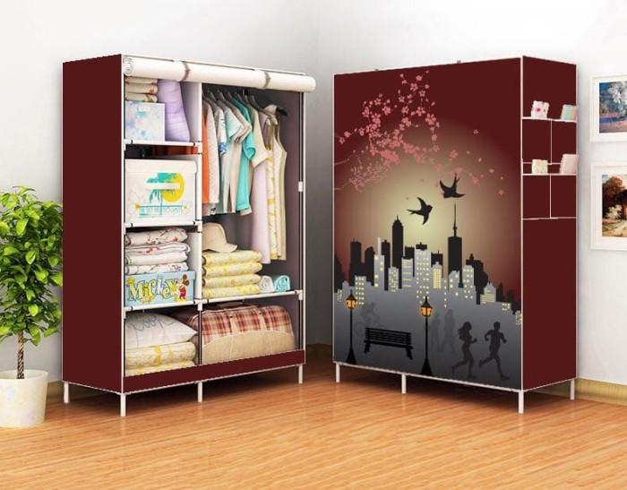 harga Lemari pakaian multifungsi medium 3 sekat - 3d / cloth rak with cover Tokopedia.com