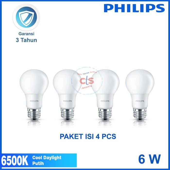 bohlam (4Pcs) PAKET Lampu Led Bulb 6w 6 watt 6 w Putih Philips Promo