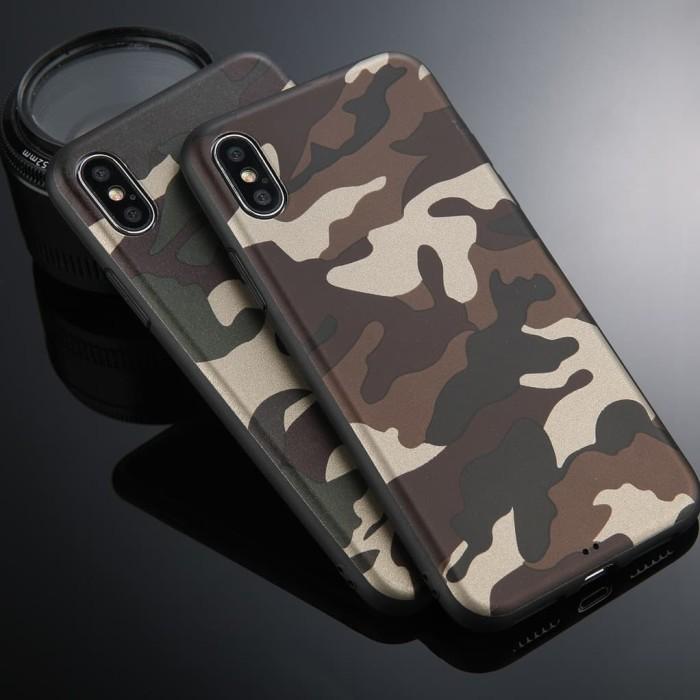 Lovebay Army Green Camouflage Case IPhone X 8 7 6S 6 Plus Soft Silicon - Hijau