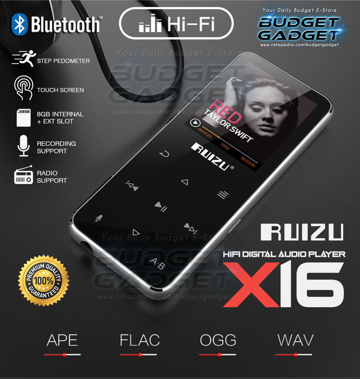 harga Original ruizu x16 bluetooth hifi dap mp3 player 8gb dig audio player Tokopedia.com