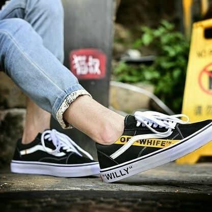 5829416f783945 Jual Off White X Vans Old Skool Willy Black Yellow Premium - Kota ...