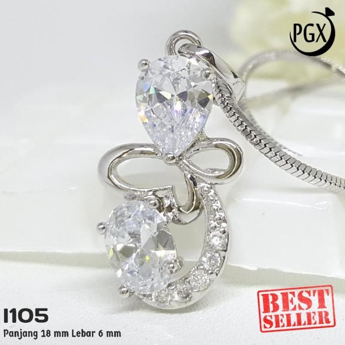 I105 - Liontin Silver Berlian Permata Zircon Mewah - Set Perhiasan