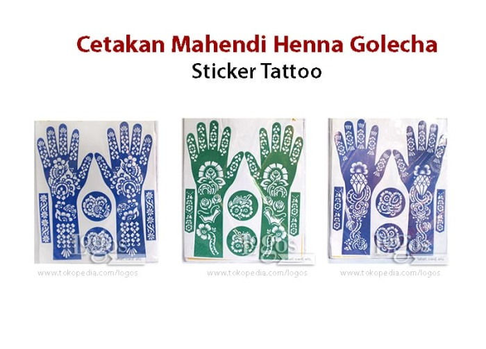 Jual Cetakan Mahendi Henna Golecha Hena Tattoo Sticker Tato Stiker