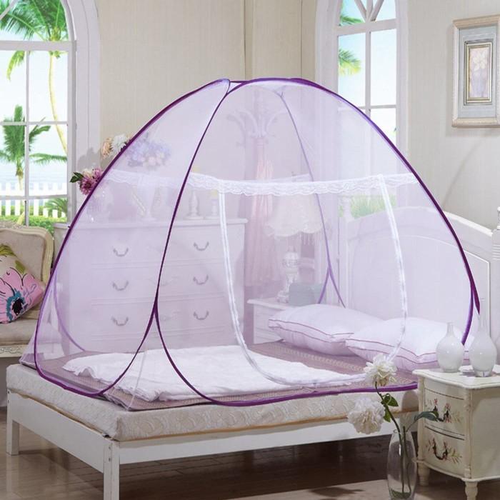 harga Kelambu 120 x 200 cm bolong lipat tempat tidur ranjang kasur kanopi - ungu Tokopedia.com
