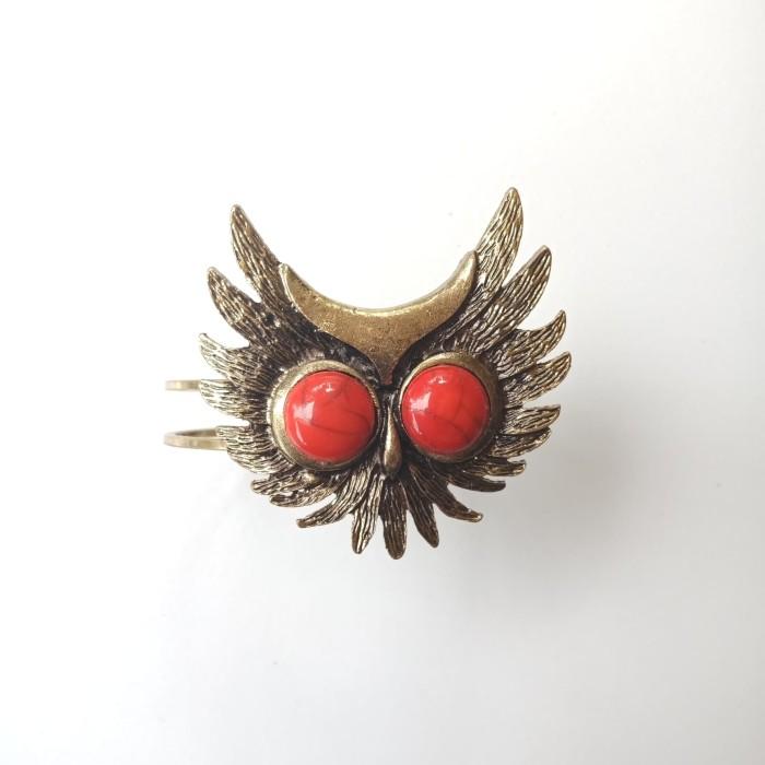 """Foto Produk Gelang / Bracelet Motif """"Owl"""" Dengan Hiasan Batu Alam Merah dari Kyuti"""