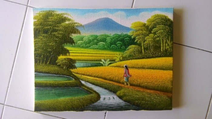 Jual Dekorasi Rumah Lukisan Murah Pemandangan Sawah Mini