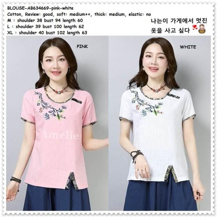 harga Baju atasan katun bordir blouse korea import ab634669 pink white putih Tokopedia.com