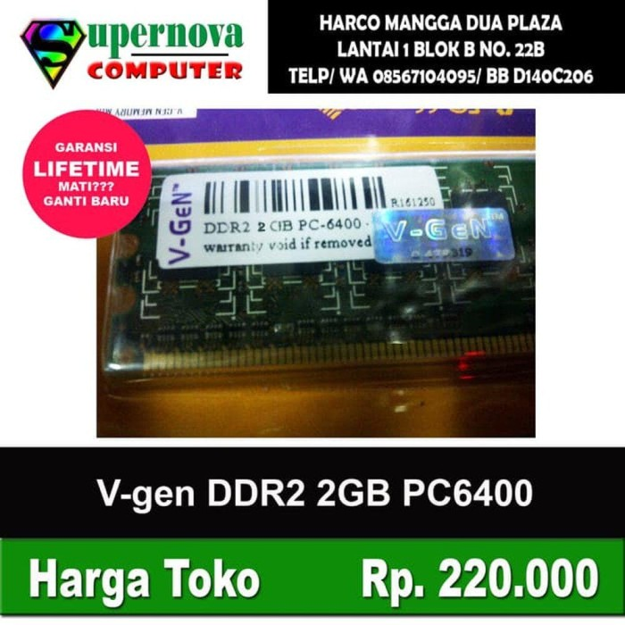 Terpopuler Big Memory Komputer Memory Ram Pc Ddr2 2Gb Pc 6400 V-Gen