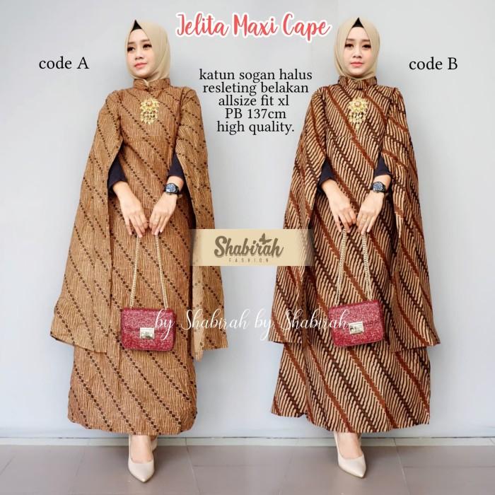 Jual Sb Gamis Batik Solo Jelita Maxi Cape Batik Kerja Gamis Pesta Abaya Kota Surakarta My Shabirah Store Tokopedia