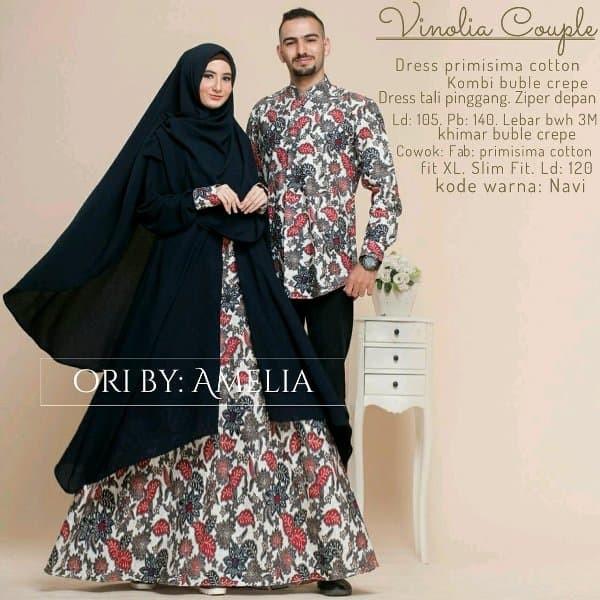 Jual Gamis Batik Couple Busana Muslim Pesta Terbaru Vinolia Dapis