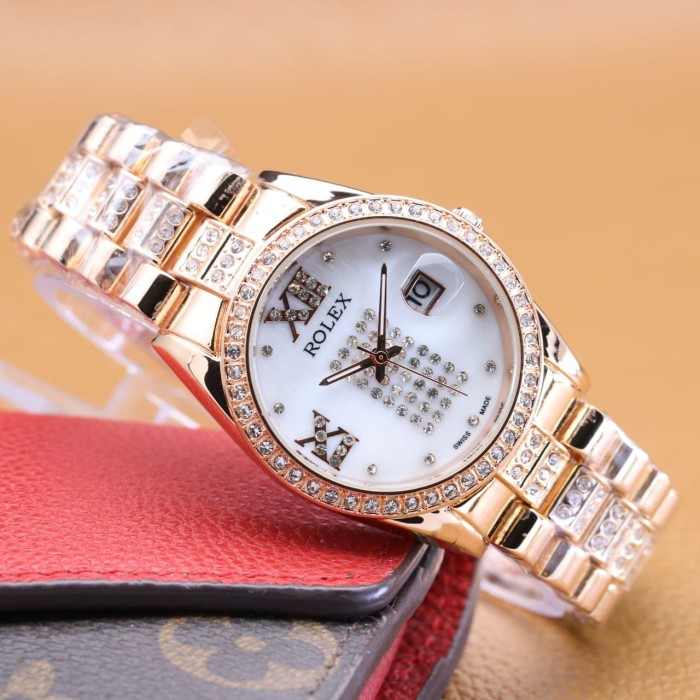 Rolex Jam Tangan Wanita Analog Crystal - Watch Analog Rolex 6