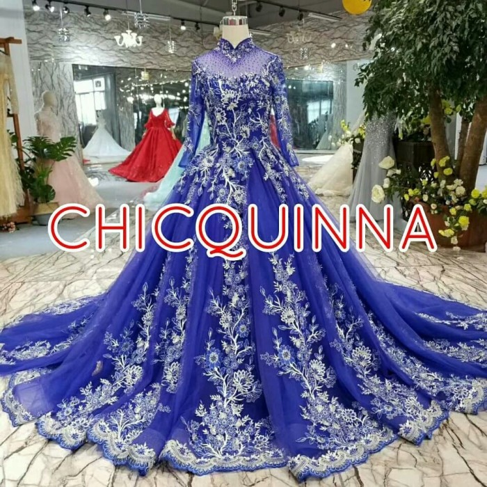 Jual Open Pre Order Gaun Pengantin Wedding Dress Biru Navy Cantik